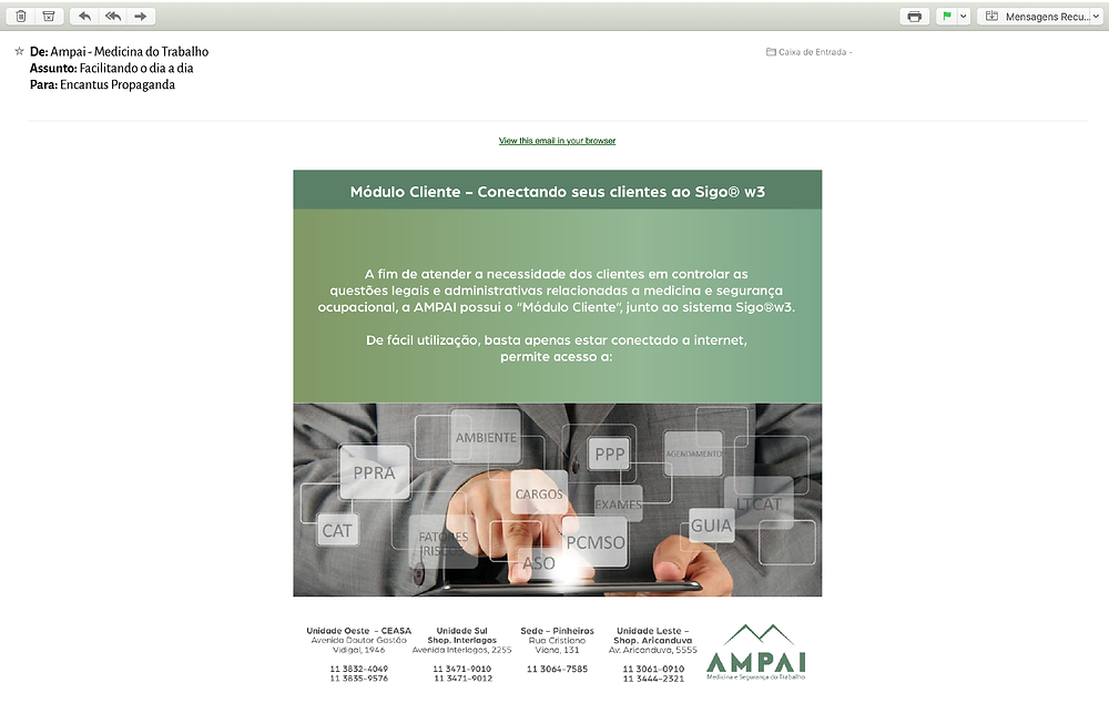 e-mail marketing da Ampai