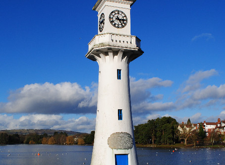 Why is a lighthouse or is it a clock tower in the middle of a Cardiff boating lake?