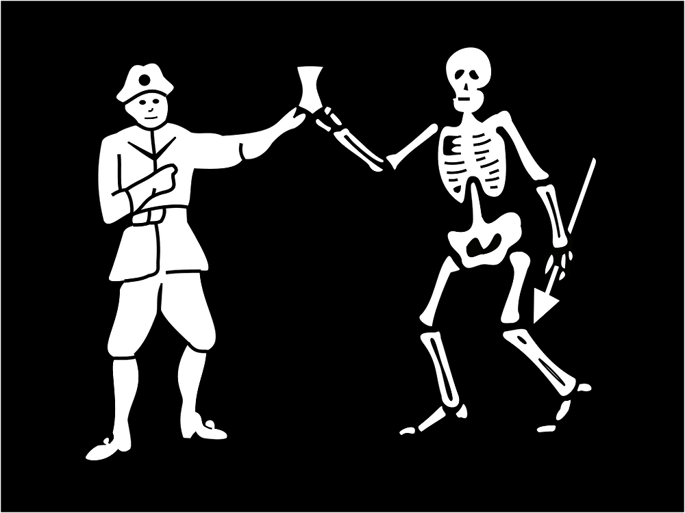 Roberts' first flag shows himself and Death holding an hourglass.