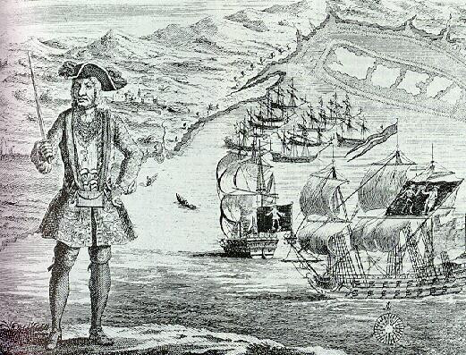 Bartholomew Roberts at Ouidah with his ship and captured merchantmen in the background.