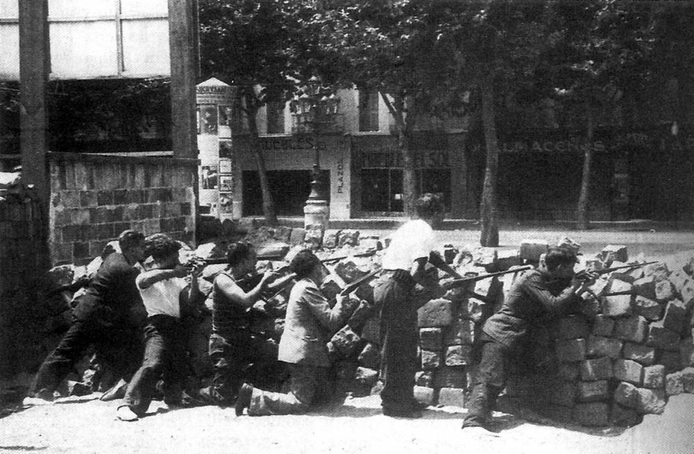 International Brigade Fighting in Barcelona
