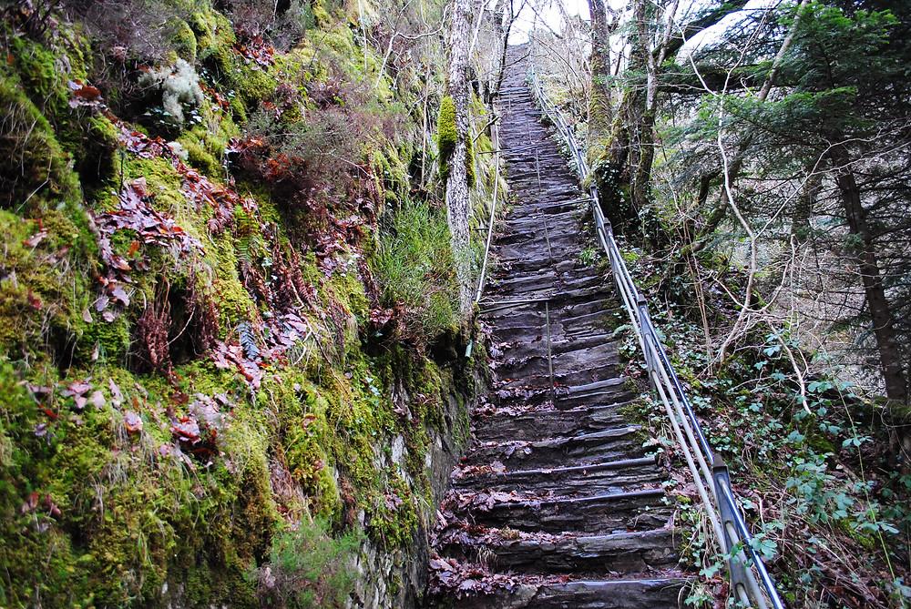 Devil's Bridge steps can be slippery.