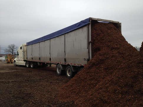 Mulch being delivered