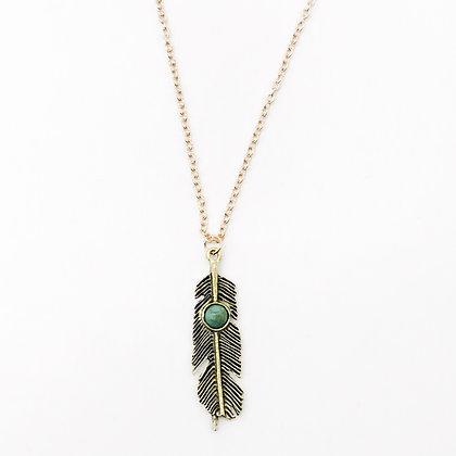 Collier plume turquoise Accessoire Studio accessoires