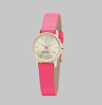 Les Partisanes L'Insouciante Montre Or Rose bracelet vernis rose fluo