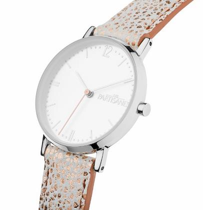 accessoire studio montre les partisanes argent bracelet blanc or cuir