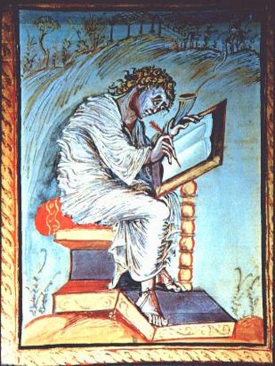 Miniatura do  Evangelho de Ebbo de Rheims. São Mateus. Antes de 823 A.D. Biblioteca Municipal de Epernay