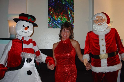Suzan with Snowy & Santa