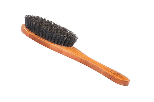Bass A15 Dark Bamboo  |  Full Oval Style Brush with Soft Natural Bristles
