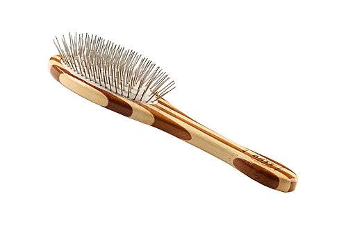 Bass A9 Striped Bamboo  |  Medium Oval Style Brush with Alloy Pins