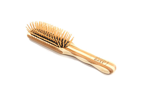 The Green Brush 17M | Medium Paddle Hairbrush with Bamboo Pins + Bamboo Handle