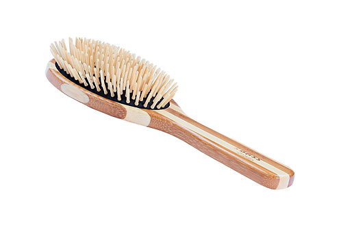 The Green Brush 20P  |  Large Oval Brush with Bamboo Pins and Bamboo Handle