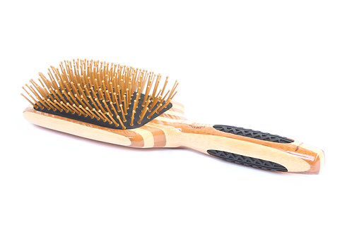 Bass LPBW Striped Bamboo - Khaki | Large Paddle Hairbrush with Nylon Pins