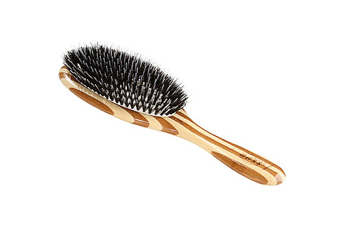 Bass 54 Striped Bamboo | Large Oval Hairbrush with Natural Bristle + Nylon Pin