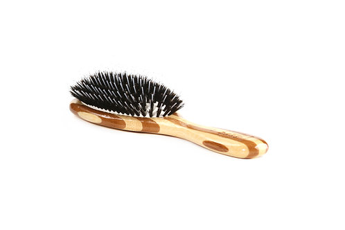 Bass 53P Striped Bamboo  |  Medium Oval Brush with Natural Bristle + Nylon Pins