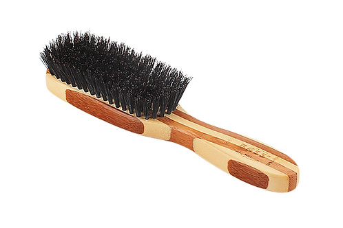 Bass 876SB Striped Bamboo | Semi Oval Hairbrush with Soft Natural Bristles