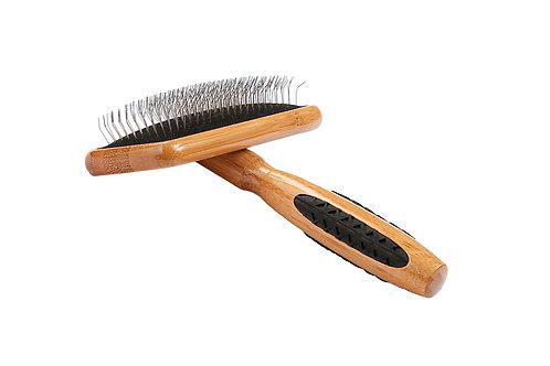 Bass A20 Dark Bamboo  |  Medium Slicker Style Brush with Firm Alloy Pins