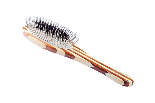 The Hybrid Groomer A1 Striped Bamboo  |  Medium Oval Brush