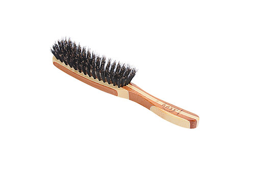 Bass 126 Striped Bamboo | 7 Row Contour Hairbrush with Firm Natural Bristles