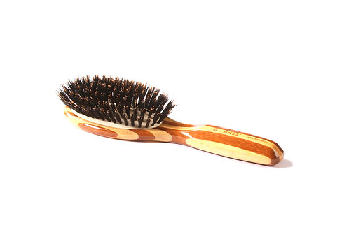 Bass 898 Striped Bamboo | Small Oval Hairbrush with Firm Natural Bristles