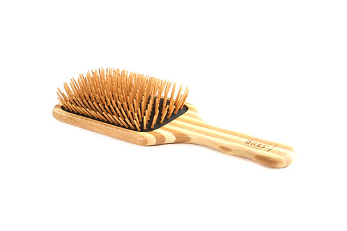 The Green Brush 18 | Large Paddle Hairbrush with Bamboo Pins + Bamboo Handle