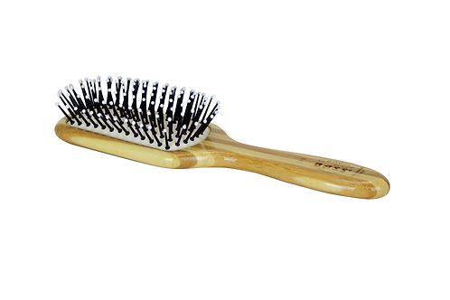 Bass SPB Striped Bamboo - Snowy White | Small Paddle Hairbrush with Nylon Pins