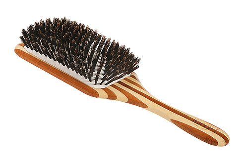 Bass LPBB Striped Bamboo | Large Paddle Hairbrush with Firm Natural Bristles