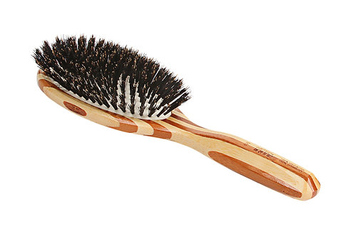 Bass 899 Striped Bamboo | Large Oval Hairbrush with Firm Natural Bristles
