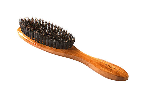 Bass 876S Dark Bamboo | Full Oval Hairbrush with Firm Natural Bristles