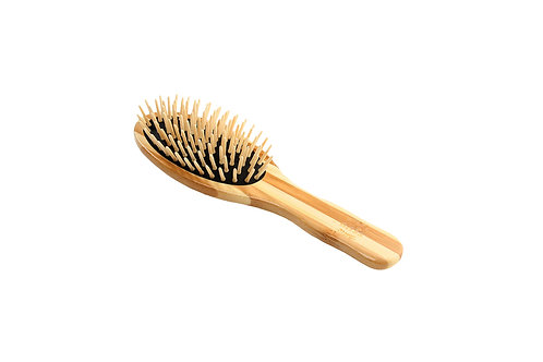 The Green Brush 15P  |  Small Oval Brush with Bamboo Pins and Bamboo Handle