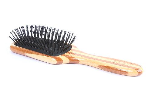 Bass SPB Striped Bamboo - Jet Black | Small Paddle Hairbrush with Nylon Pins