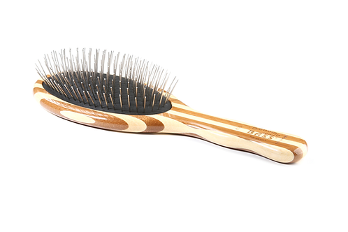 Bass 803 Striped Bamboo | Large Oval Style Hairbrush with Premium Alloy Pins