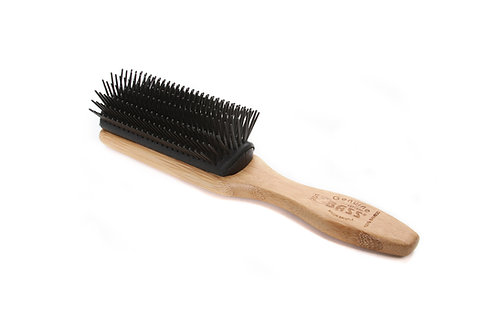 Bass 201 Jet Black | Classic 9 Row Style Hairbrush with Nylon Pins
