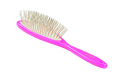 Bass 58 Pretty Pink  |  Large Oval Brush With Alloy Pins and Acrylic Handle