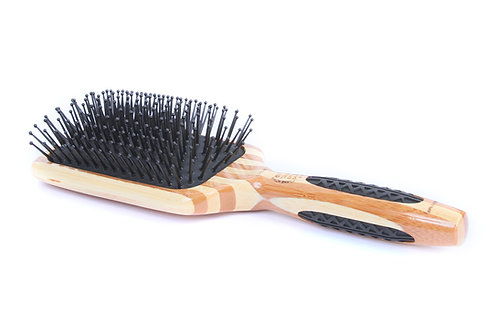 Bass LPBW Striped Bamboo - Jet Black | Large Paddle Hairbrush with Nylon Pins