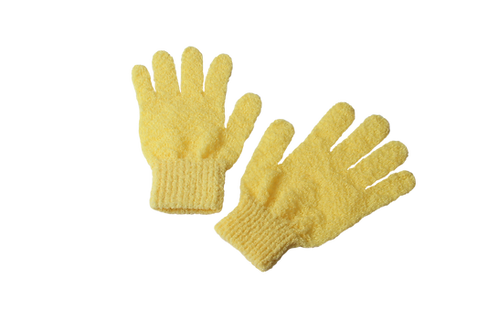 Bass S58F Yellow  |  Premium Firm Nylon Body Exfoliating Gloves