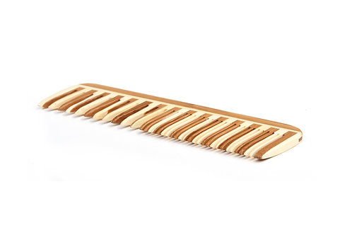 Bass W3 Striped Bamboo | Fine/Wide Tooth Combination Style Grooming Comb