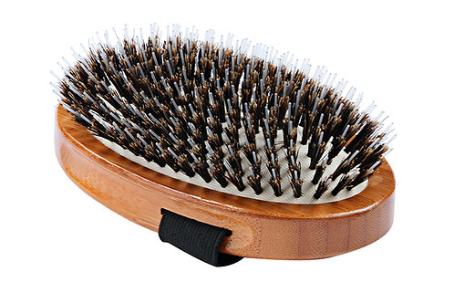 Bass A7 Dark Bamboo  |  Palm Style Brush with Natural Bristle + Nylon Pins
