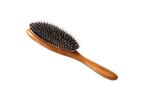 Bass 54 Dark Bamboo | Large Oval Hairbrush with Natural Bristle + Nylon Pin