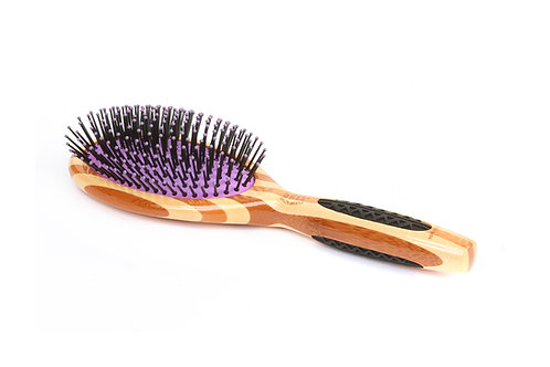 Bass 22 Striped Bamboo - Royal Purple | Large Oval Hairbrush with Nylon Pins