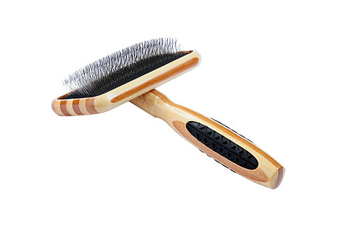 Bass A23 Striped Bamboo  |  Medium Slicker Style Brush with Soft Alloy Pins