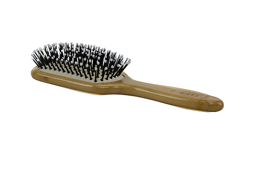 Bass SPB Dark Bamboo - Snowy White | Small Paddle Hairbrush with Nylon Pins
