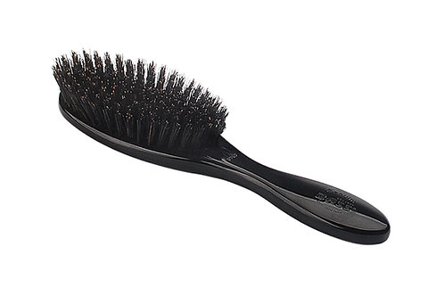 Bass 876FS Jet Black | Full Oval Hairbrush with Firm Natural Bristles
