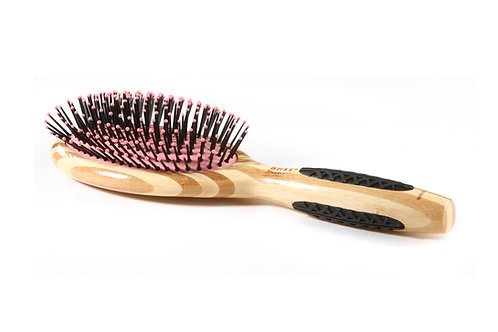 Bass 22 Striped Bamboo - Pretty Pink | Large Oval Hairbrush with Nylon Pins