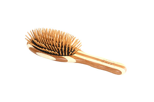 The Green Brush 15 | Small Oval Hairbrush with Bamboo Pins + Bamboo Handle