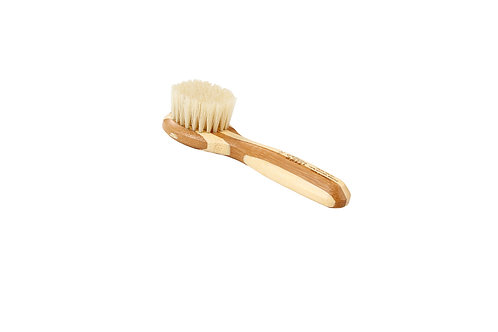 Bass 406 Striped Bamboo     Facial Brush with Firm Natural Bristles