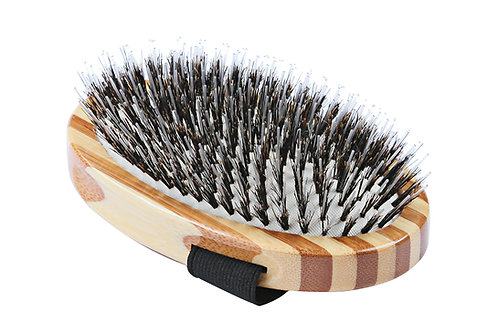 Bass A7 Striped Bamboo  |  Palm Style Brush with Natural Bristle + Nylon Pins