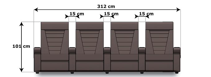 Domus 4-seat common arm dimensions