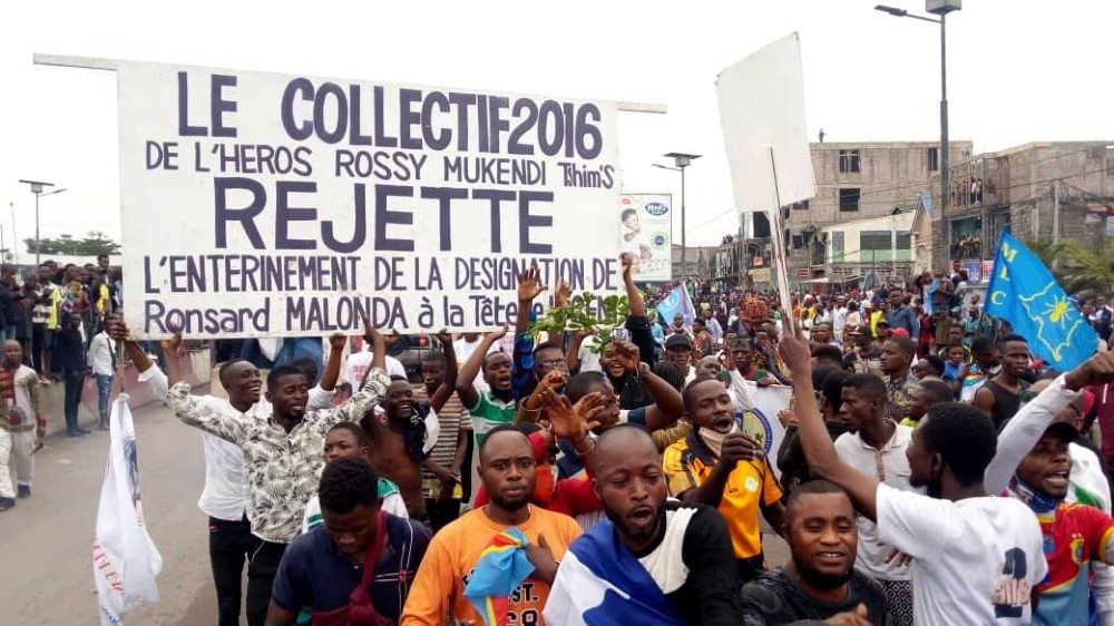 A renewed protest against the nomination of Ronsard Malonda as president of CENI in Kinshasa [Benoit Nyemba/Reuters]