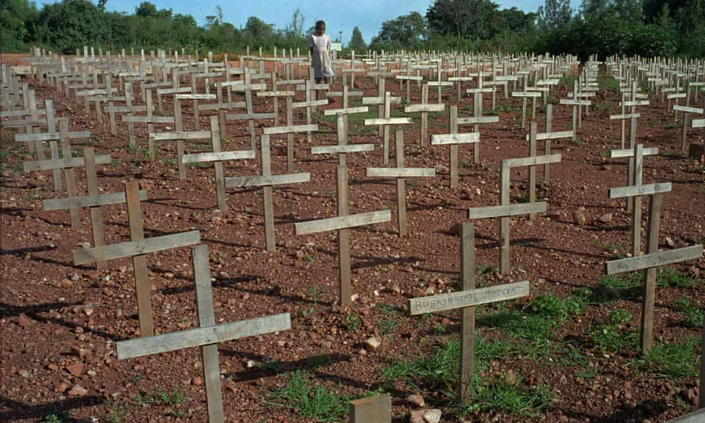 Nyaza cemetery outside Kigali, Rwanda, where thousands of victims of the genocide are buried. Photograph: Ricardo Mazalán/AP